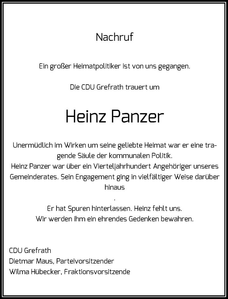 Anzeige von  Heinz Panzer