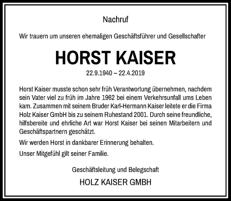 Traueranzeige für Horst Kaiser vom 26.04.2019 aus Rheinische Post