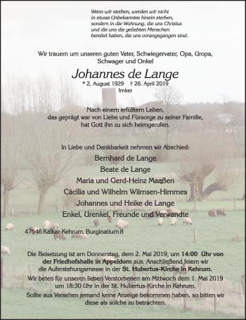 Traueranzeige von Johannes De Lange von Rheinische Post
