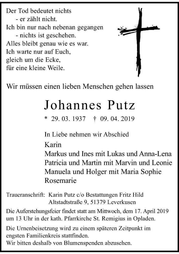 Anzeige von  Johannes Putz
