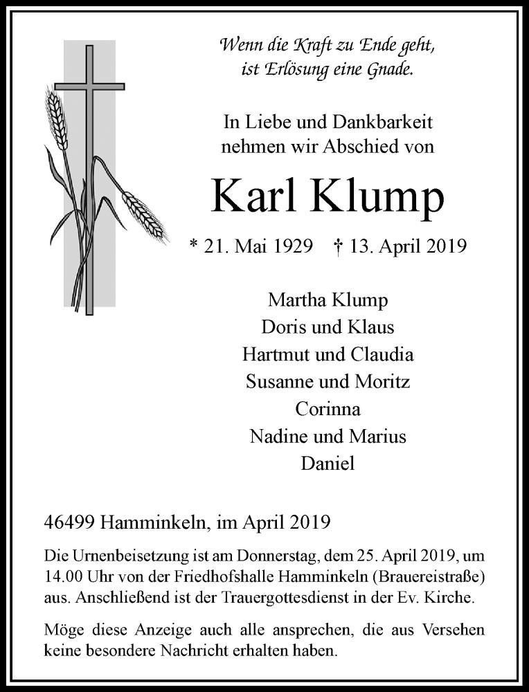 Anzeige von  Karl Klump