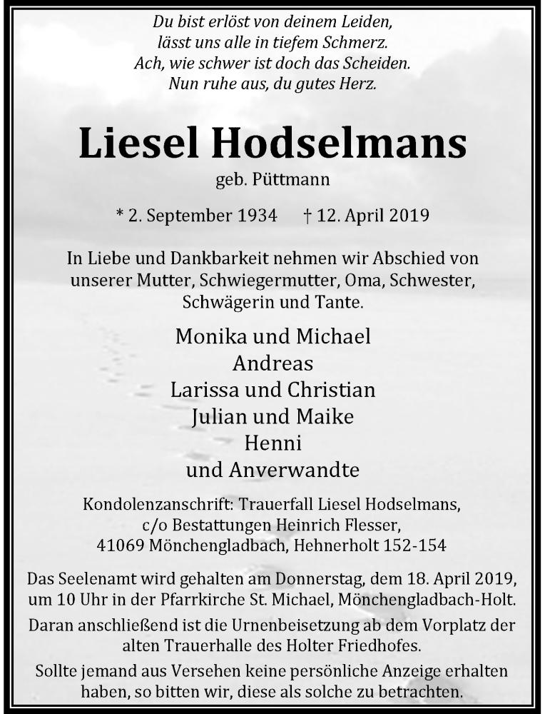Anzeige von  Liesel Hodselmans