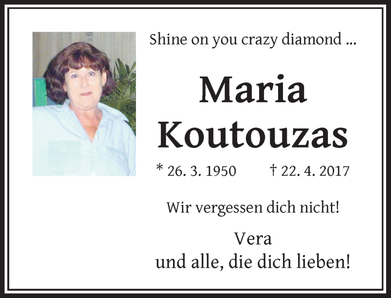 Traueranzeige für Maria Koutouzas vom 20.04.2019 aus Rheinische Post