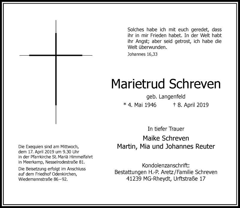 Anzeige von  Marietrud Schreven