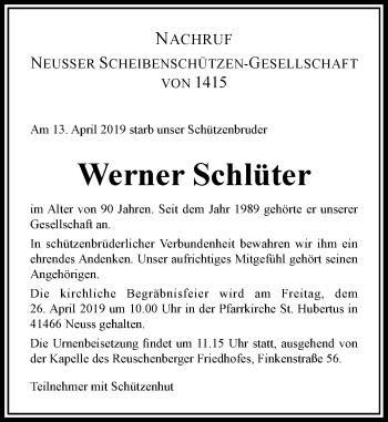 Traueranzeige von Werner Schlüter von Rheinische Post