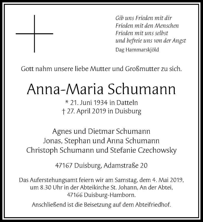 Anzeige von  Anna-Maria Schumann