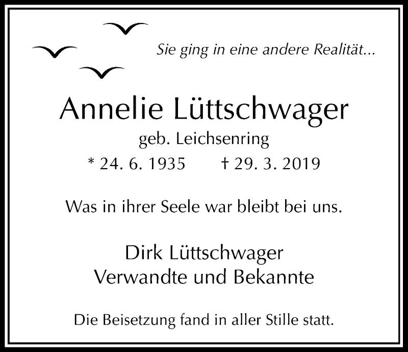 Anzeige von  Annelie Lüttschwager