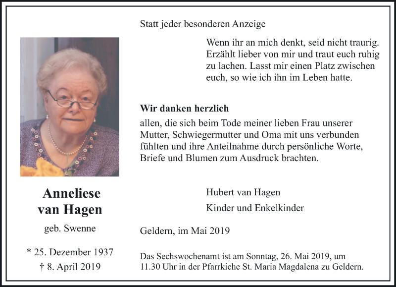 Traueranzeige für Anneliese van Hagen vom 18.05.2019 aus Rheinische Post
