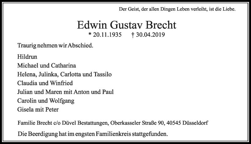 Traueranzeige für Edwin Gustav Brecht vom 18.05.2019 aus Rheinische Post