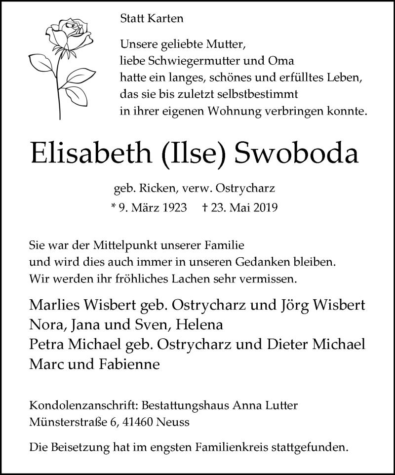 Anzeige von  Elisabeth Swoboda
