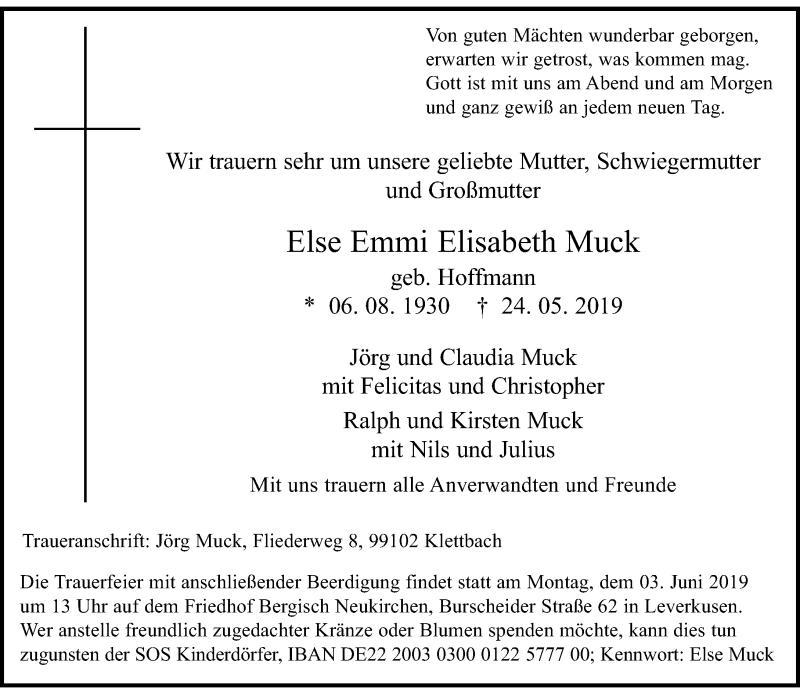Anzeige von  Else Emmi Elisabeth Muck
