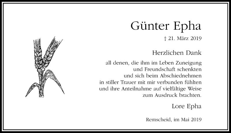 Anzeige von  Günter Epha