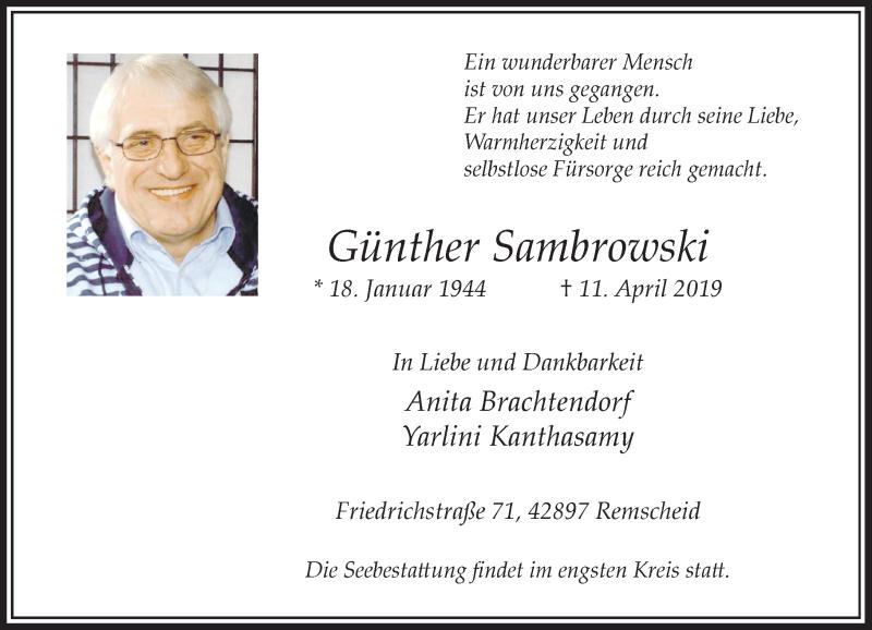 Anzeige von  Günther Sambrowski
