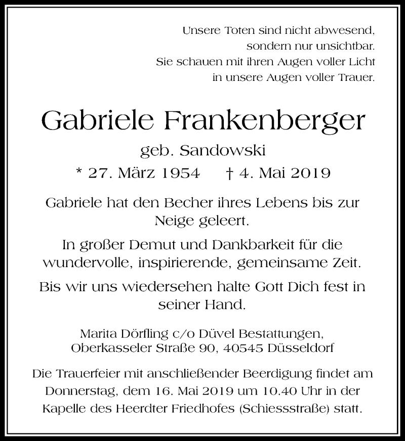 Anzeige von  Gabriele Frankenberger