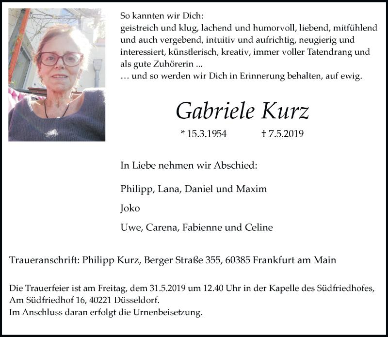 Anzeige von  Gabriele Kurz