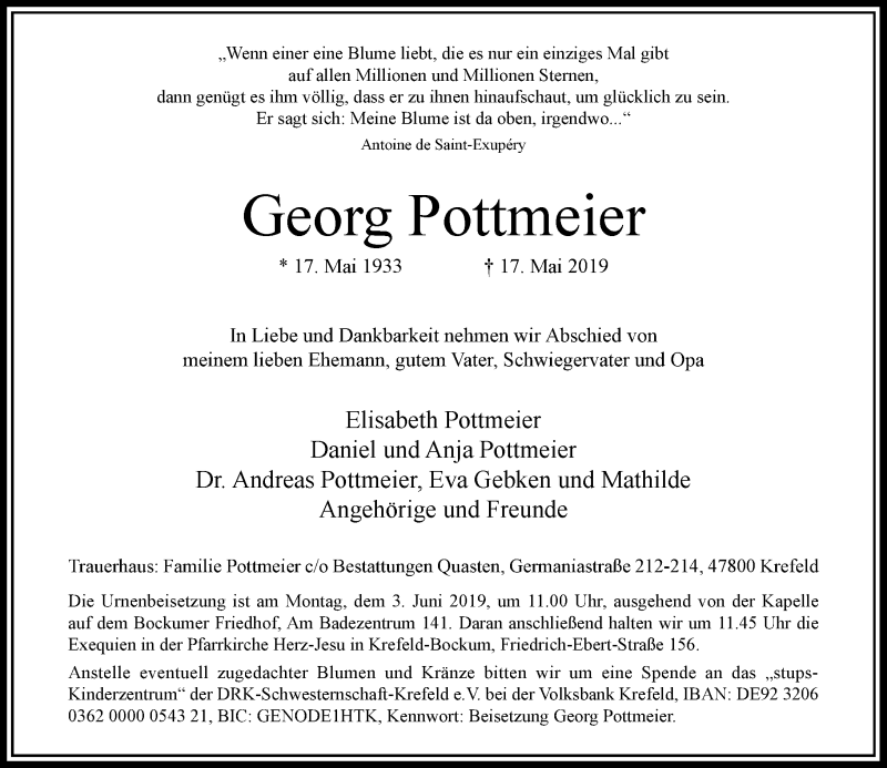 Anzeige von  Georg Pottmeier