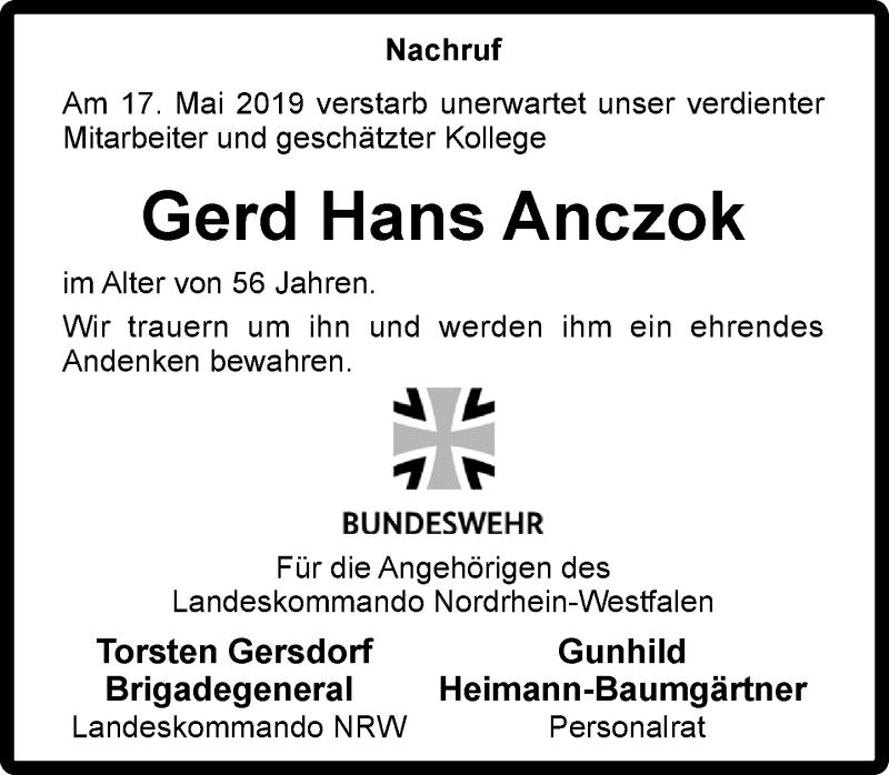 Anzeige von  Gerd Hans Anczok
