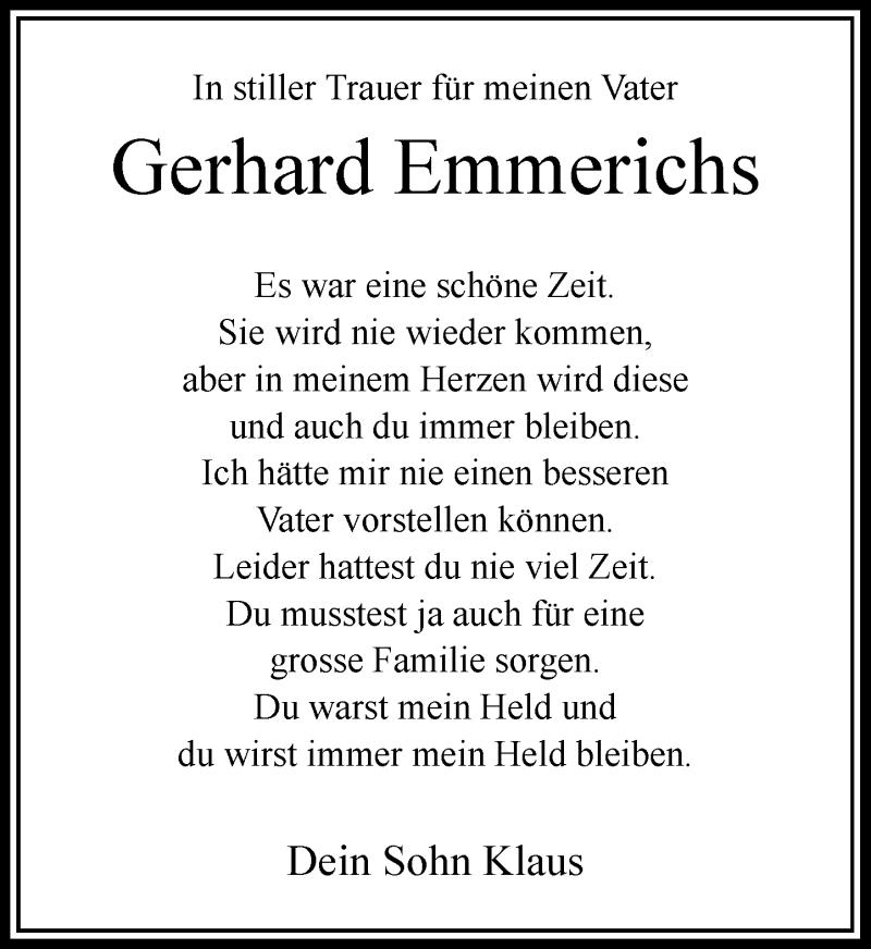 Anzeige von  Gerhard Emmerichs