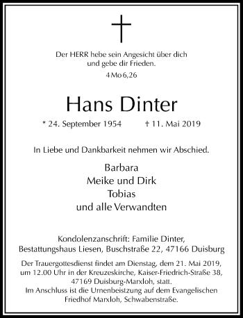 Traueranzeige von Hans Dinter von Rheinische Post