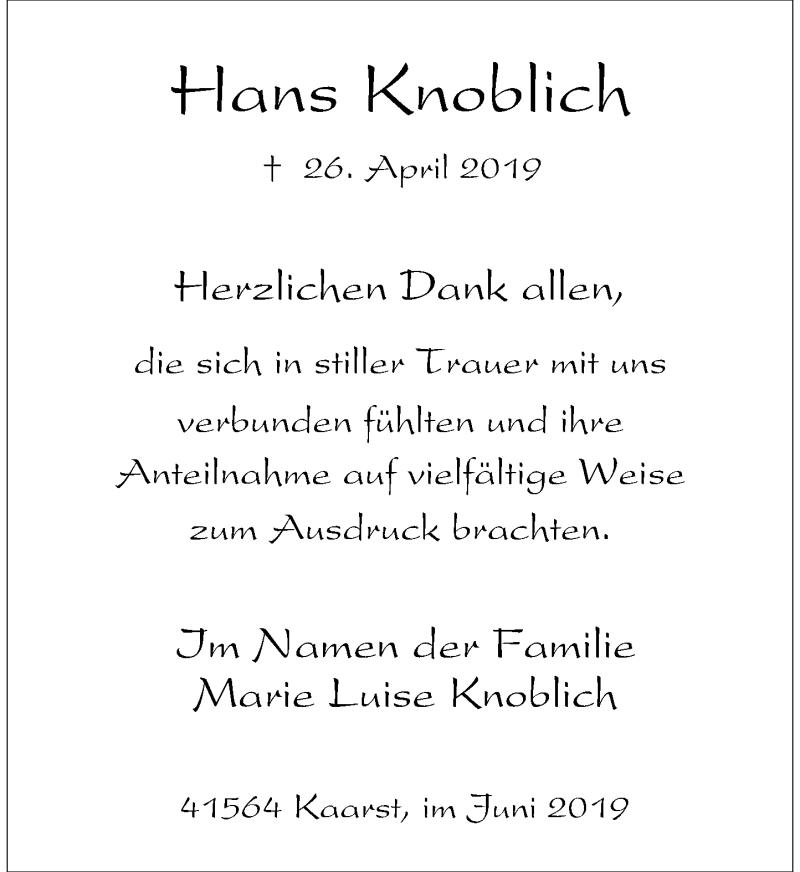 Anzeige von  Hans Knoblich