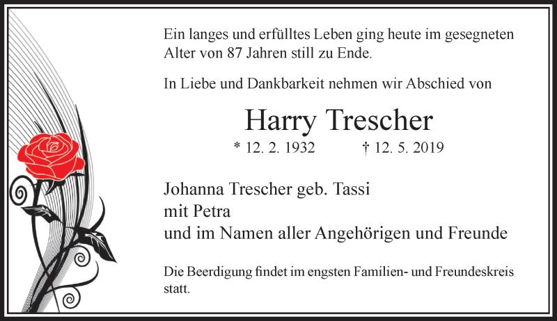 Anzeige von  Harry Trescher