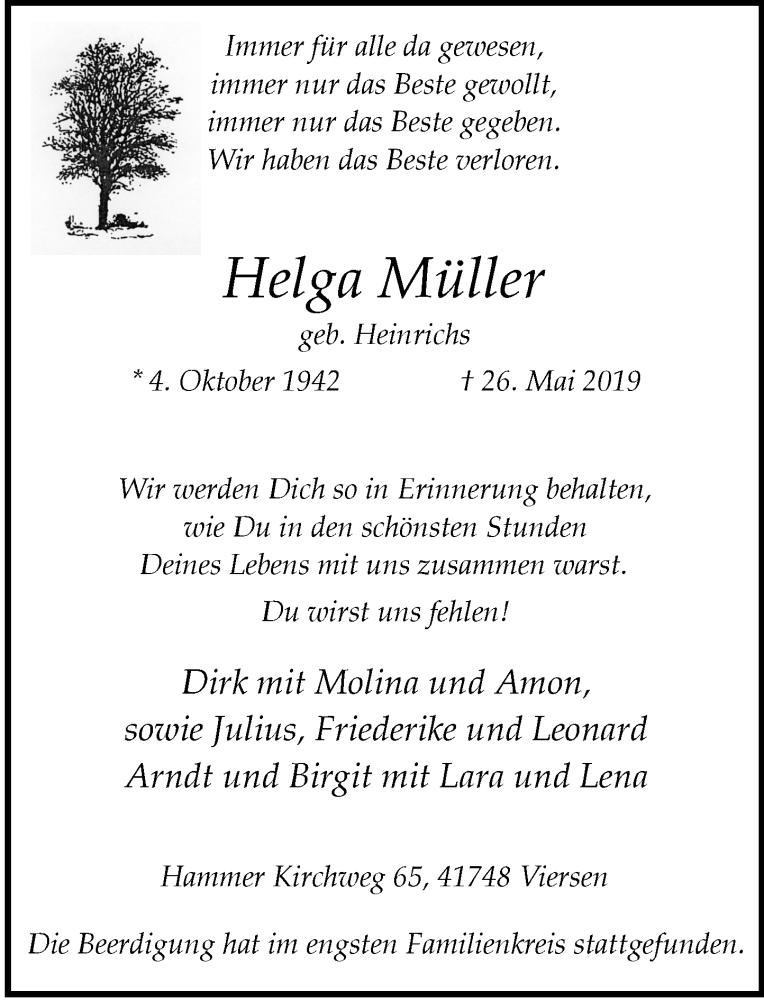 Anzeige von  Helga Müller
