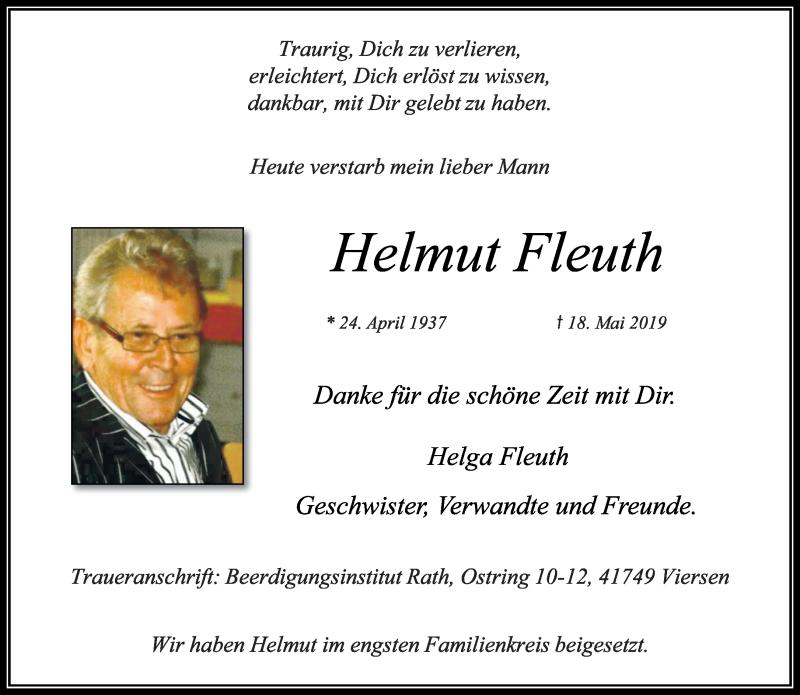 Anzeige von  Helmut Fleuth