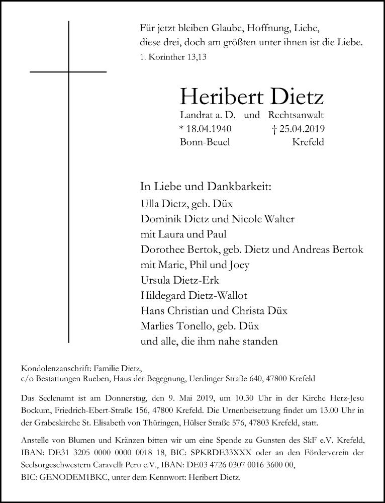Traueranzeige für Heribert Dietz vom 04.05.2019 aus Rheinische Post