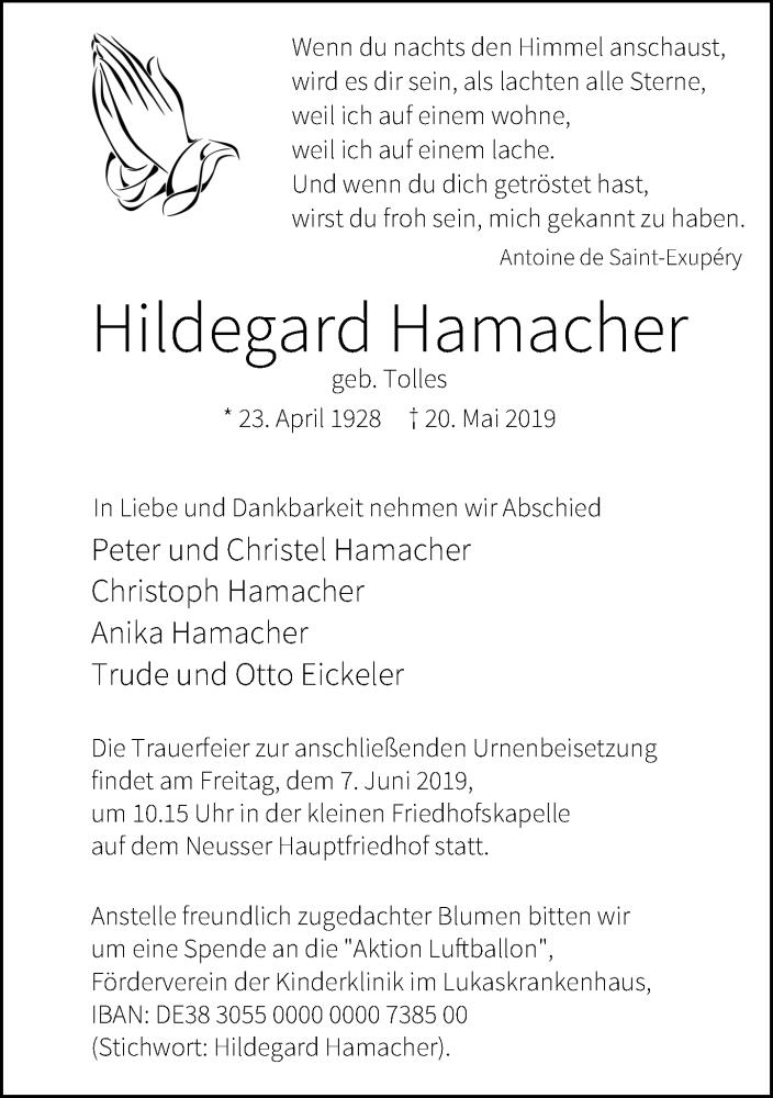 Anzeige von  Hildegard Hamacher