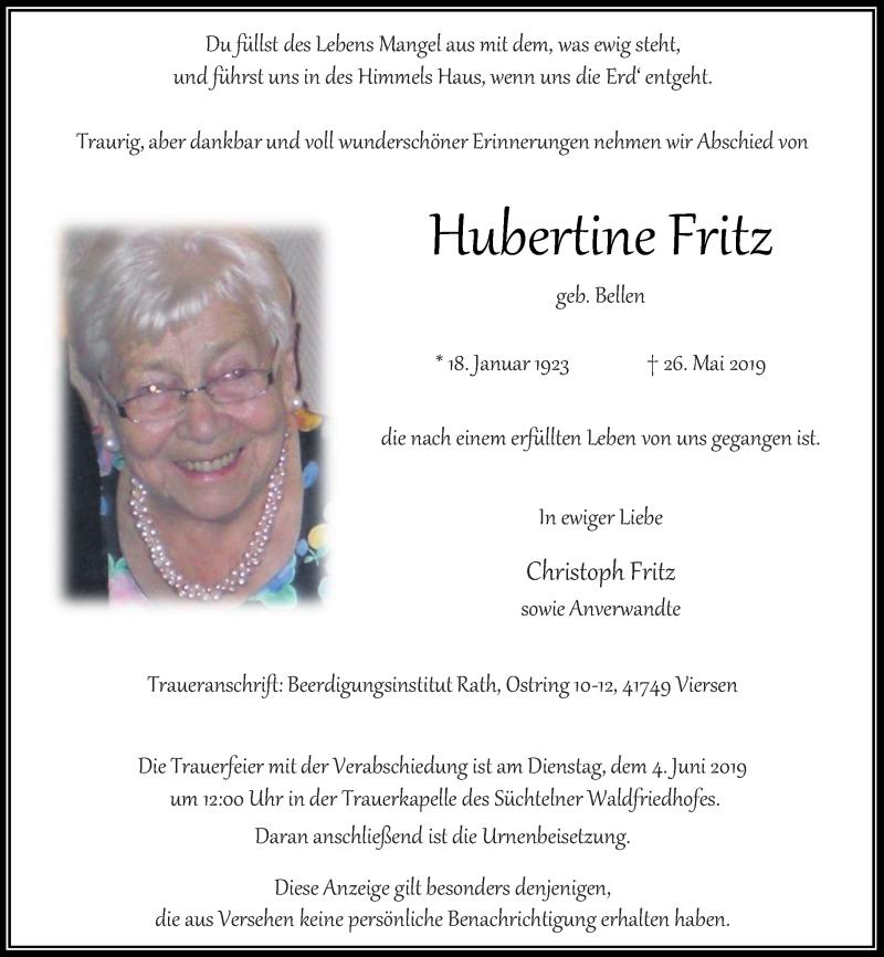 Anzeige von  Hubertine Fritz