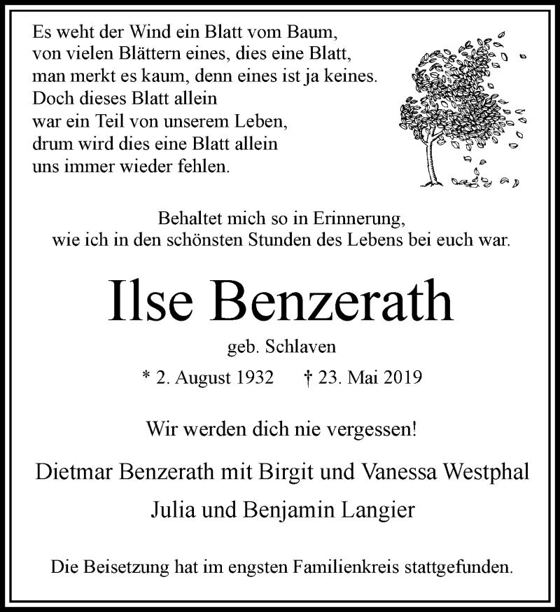 Anzeige von  Ilse Benzerath