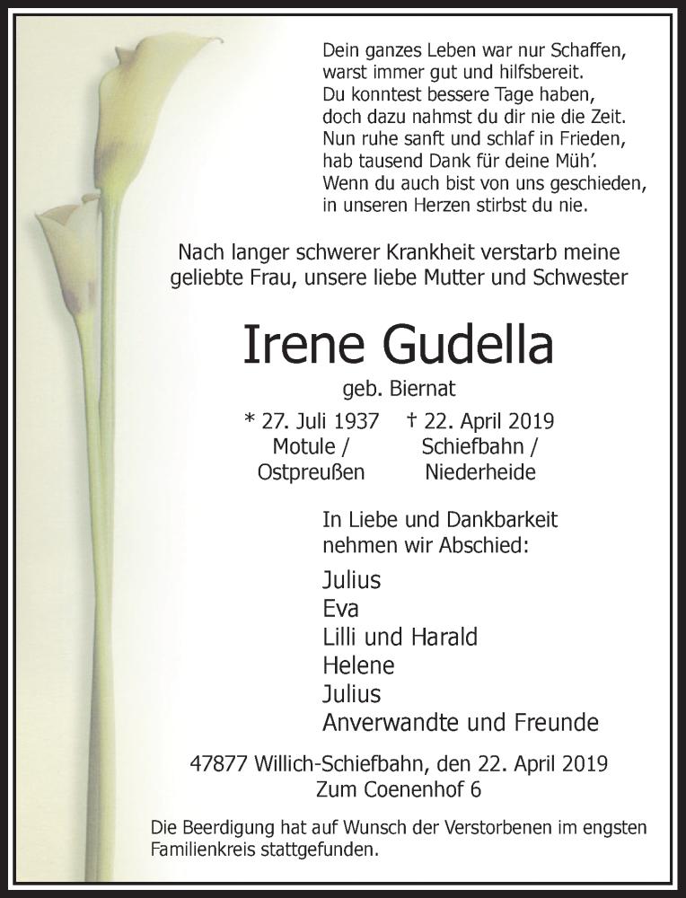 Traueranzeige für Irene Gudella vom 04.05.2019 aus Rheinische Post