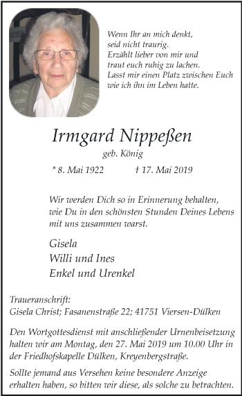 Traueranzeige von Irmgard Nippeßen von Rheinische Post