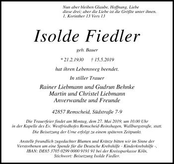 Traueranzeige von Isolde Fiedler von Rheinische Post