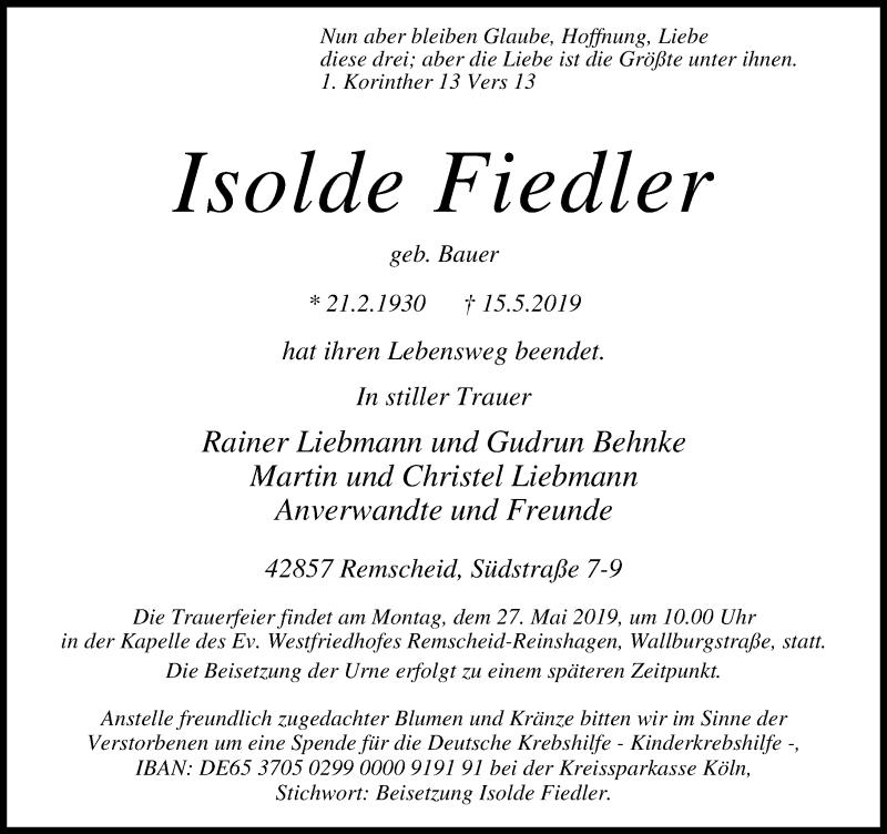 Anzeige von  Isolde Fiedler