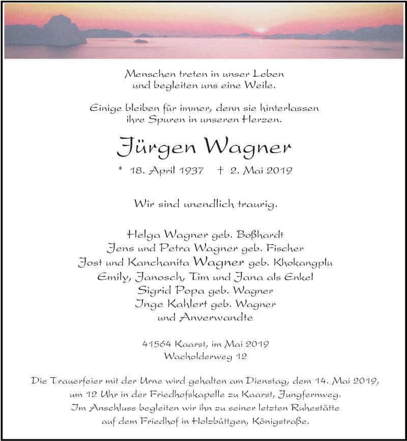 Anzeige von  Jürgen Wagner