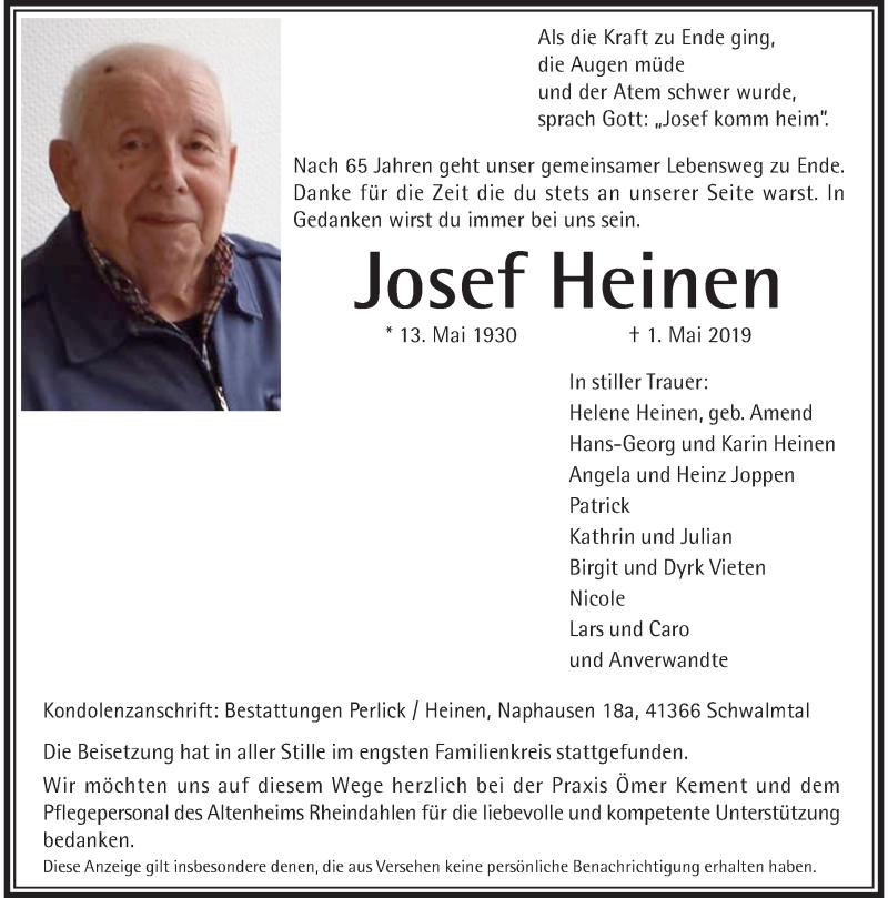 Anzeige von  Josef Heinen