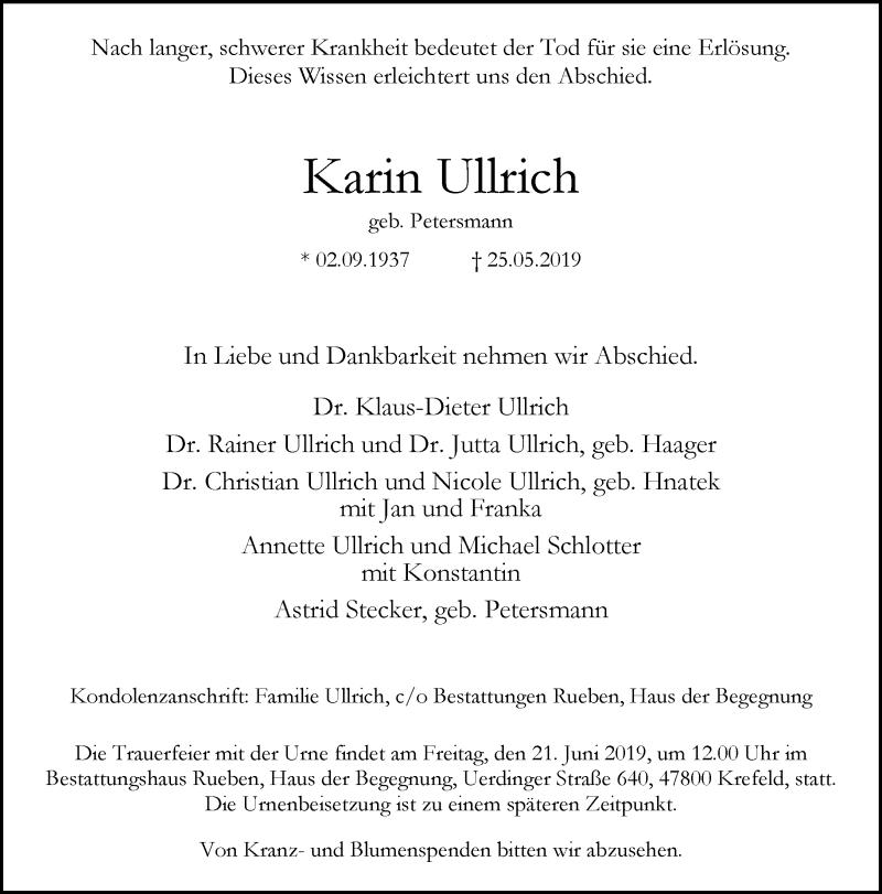 Anzeige von  Karin Ullrich