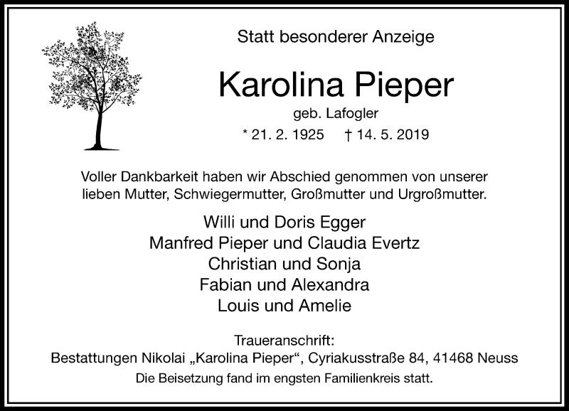 Anzeige von  Karolina Pieper