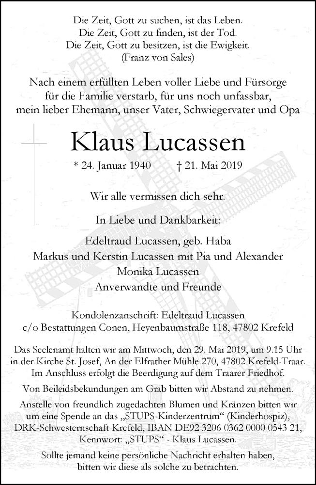 Anzeige von  Klaus Lucassen