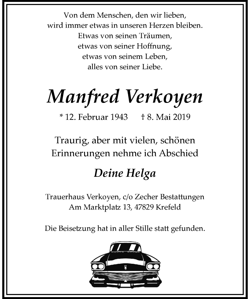 Anzeige von  Manfred Verkoyen