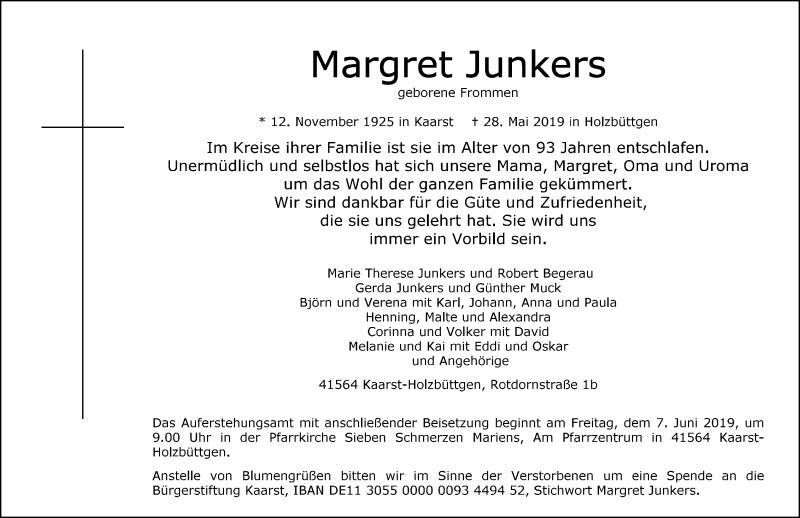 Anzeige von  Margret Junkers