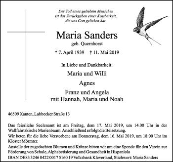 Traueranzeige von Maria Sanders von Rheinische Post