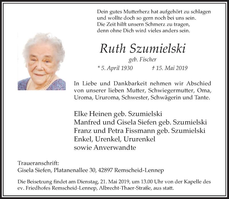 Anzeige von  Ruth Szumielski