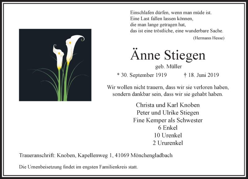 Traueranzeige für Änne Stiegen vom 29.06.2019 aus Rheinische Post