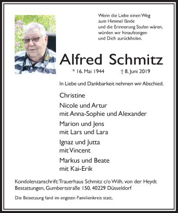 Traueranzeige von Alfred Schmitz von Rheinische Post