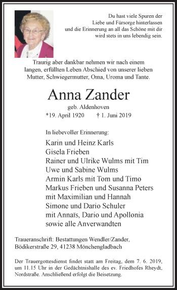Traueranzeige von Anna Zander von Rheinische Post