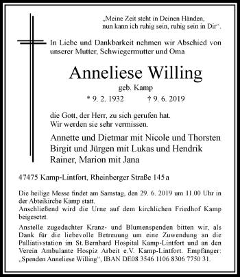 Traueranzeige von Anneliese Willing von Rheinische Post