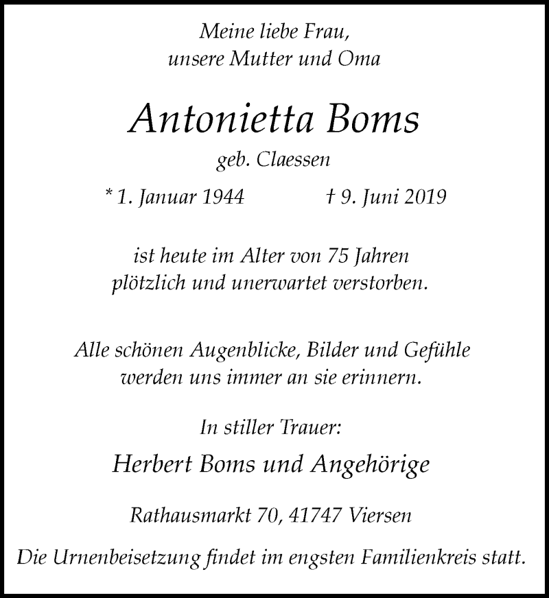 Anzeige von  Antonietta Boms