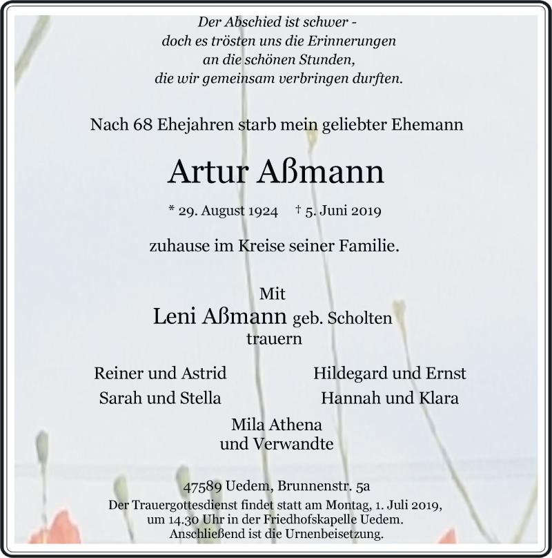 Anzeige von  Artur Aßmann